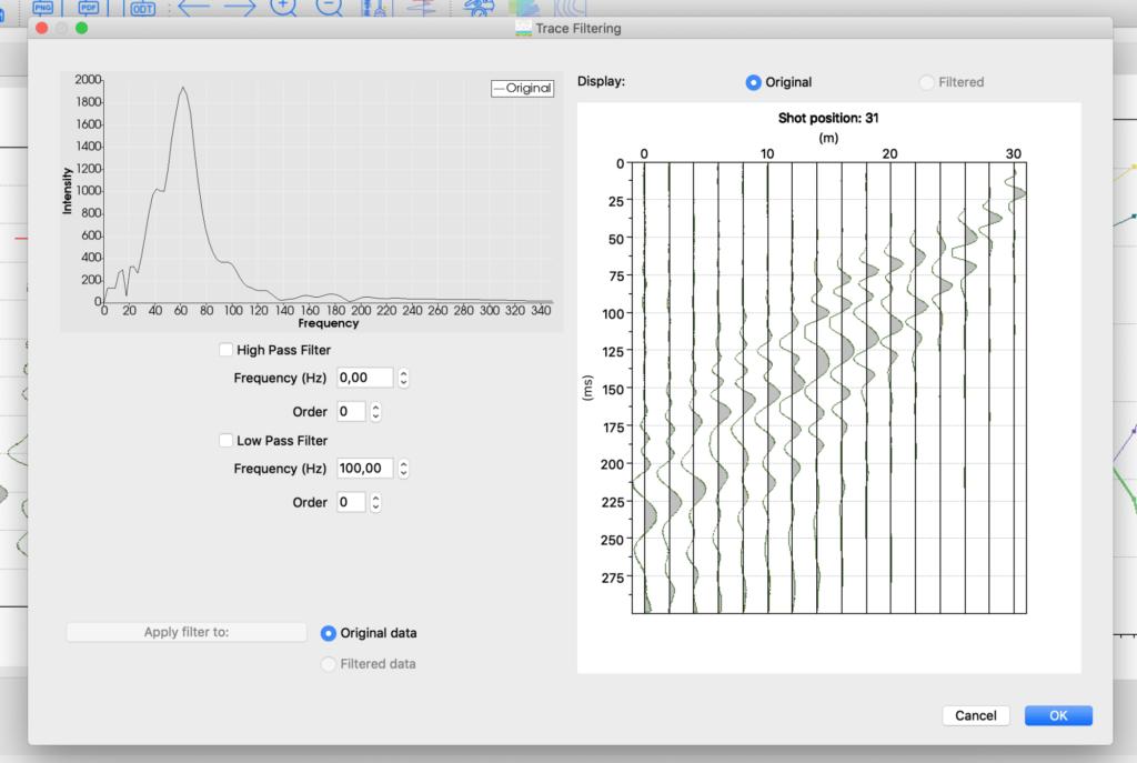 smartTomo - finestra per il filtraggio del segnale con l'utilizzo di filtri passa alto e passa basso.