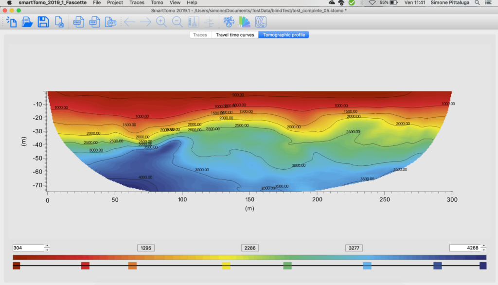 Profile of seismic refraction tomography (SRT) plotted using smartTomo.