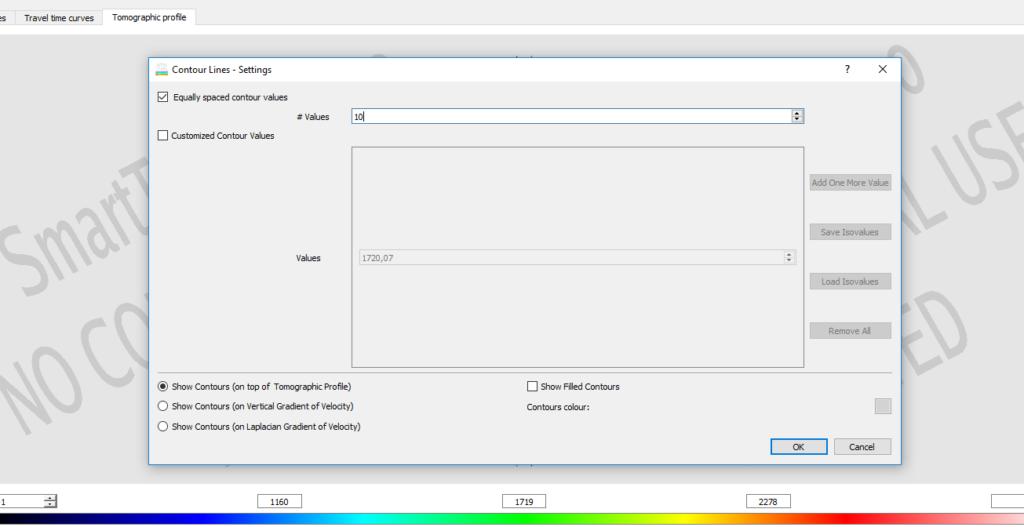 Visualizzazione della finestra di dialogo per l'impostazione delle linee di oso-velocità