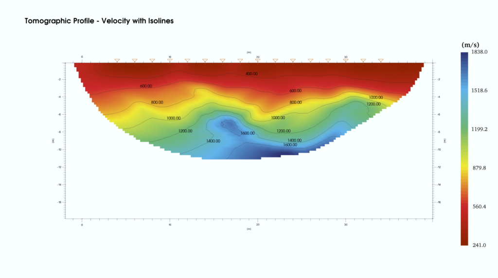 Seismic refraction profile shown using smartTomo.