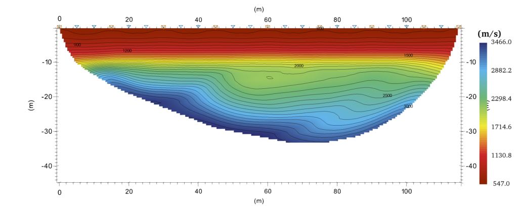 Seismic profile processed using SmartTomo that shows a slope at a depth of about 20 meters.